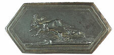Hunting animals HOUND CHASING A STAG cast iron 95mm x 47mm unsigned