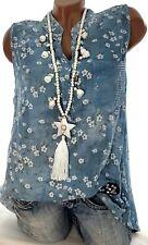 Tunika Top Alea (Blau Touch) Gr.40-42-(44) Damen Sommer Hemd Geblümt Ibiza Bluse