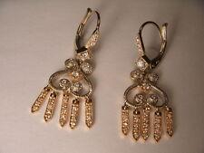 Gorgeous Estate 18K 2-Tone Two-Tone Gold Diamond Hanging Earrings