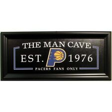 Indiana Pacers Man Cave 13x28 Fan Cave Sign Framed