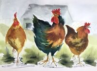THREE FINE HENS ORIGINAL PRINT OF WATERCOLOR PAINTING BY DIANE ANTONE IDEAL GIFT