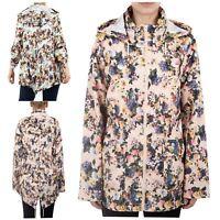 New Womens Plus Size Floral Print Detachable Hooded Fishtail Mac Raincoats 8-24