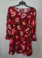 Women's Floral Burgundy Old Navy Bell Sleeve Dress Size 12 Petite