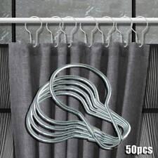 50pcs Stainless Steel Rustproof Shower Curtain Hooks Bathroom Hook Rings Set'