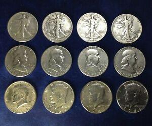 TWELVE DIFFERENT (12) U. S. Silver Half Dollars, Free Shipping in UK, No VAT