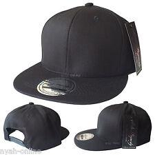 NUOVO * Nero * Plain Snapback Cappellino Baseball Hip Hop epoca retrò MONTATO Piatto Picco Cappello