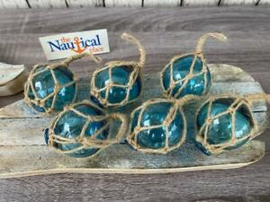 "(6) x 2"" Aqua Blue Glass Fishing Floats - Fish Net Buoy Ball w/ Rope Netting"