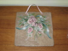"ROSE BOUQUET PAINTING ON AN 8"" x 8"" BEIGE TEXTURED TILE PLAQUE"