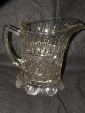 "ANTIQUE EAPG EARLY AMERICAN PATTERN GLASS WATER PITCHER  8"" TALL"