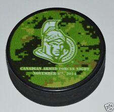 Ottawa Senators Canadian Armed Forces Night SOUVENIR PUCK Nov. 8, 2014 BLURRY