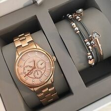 NWT! FOSSIL BQ3076SET WOMENS ANALOG SST CHRONO ROSE GOLD WATCH&FOSSIL BRACELET