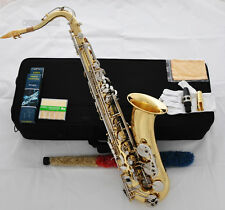 Professioanl Gold Tenor Sax Saxophone High F# Silver Keys Free Metal Mouthpiece