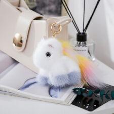 Cute Real Mink Fur Unicorn Horse Bag Charm Car Phone HandBag Keychain Kids Gift
