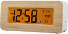 Acctim 71851 Otto Radio Controlled LCD Alarm Clock - White / Bamboo