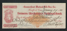 1880 FARMERS & MECHANICS NATIONAL BANK HARTFORD CONN MUTUAL LIFE CHECK + REVENUE
