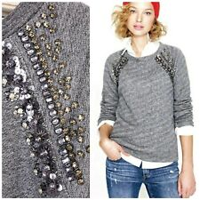 J. CREW XL Jeweled Embellished Sequin Long Sleeve Sweatshirt Top Gray Sweater
