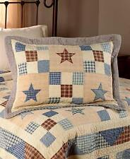 NOSTALGIA BLUE STAR Twin QUILT SET : COUNTRY CHECKS PATCH  RED PLAID CABIN