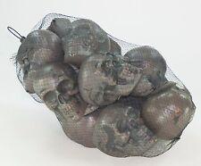 Halloween Decor or DIY Bag of 12 Gray Plastic Skulls Day of the Dead Halloween