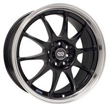 17x7 Enkei J10 4X100/108 +42 Black Rims Fits 4 Lug Civic Jetta Miata Xb Ek