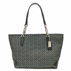 NEW Coach 33372E Madison Op Art Needlepoint East West Tote- Black