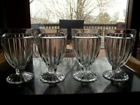 (4) Footed Tumbler Water Goblet Glass, ribbed optic panel clear vintage depressi