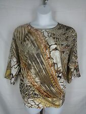 Chicos Blouse Top Size 2 (12) Large Brown Beige Canarie Accents Brielle New