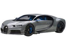 BUGATTI CHIRON JET GRAY WITH BLUE INTERIOR 1/12 MODEL CAR BY AUTOART 12114