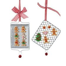 SET OF 2 LOT KSA CLAYDOUGH COOKIES & GINGERBREAD ON COOKING TRAYS XMAS ORNAMENTS