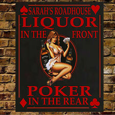 PERSONALISED POKER METAL VINTAGE  MAN CAVE SIGN BAR GIFT BROTHER DAD CHRISTMAS