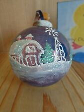 "Fire Kiln Glass Ball Ornament 2.5"" Blue Hand Painted Snowy Landscape Christmas"