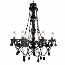 Leitmotiv ceiling lights and chandeliers ebay new leitmotiv gypsy six arms large black chandelier mozeypictures Images