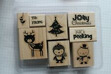 "Stampin' Up No Peeking Set of 8 Stamps ""Retired"" Reindeer, Snowman, Penguin Tree"
