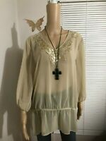 Women's  CHICO'S Top Blouse Size 2 Light Brown  Embellished Long Sleeve