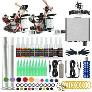 Dragonhawk Tattoo Kit 2 Machines Guns Color inks Power Supply Needles Tips Grip