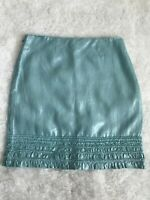 Tommy Bahama SZ 4 Acqua Metallic Ruffle Trim Skirt 100% Linen A Line side zipper
