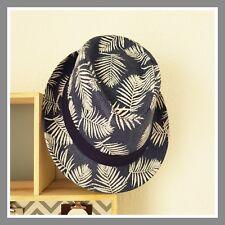 Borsalino chapeau vacances plage effet paille bleu et blanc motif feuille