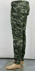 Army Print Men's Cargo Pant Trousers, Elastic Banded Ankle Cuff Slim Tapered Fit
