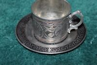 "PEWTER? CUP AND SAUCER   1 3/4""  TALL 2"" ACROSS CUP   4""ACROSS PLATE/SAUCER"