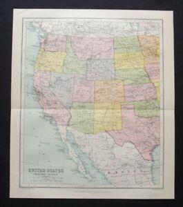Vintage Map: United States West, John Bartholomew, Chambers's Encyclopedia, 1935