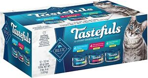 Blue Buffalo Tastefuls Natural Flaked Wet Cat Food of 12-Cans 2-Sizes Pick From
