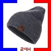 Bonnet Laine homme unisexe hiver chaud mode Noir Bleu Marine Gris Acrylique