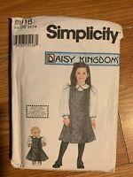 "Simplicity 9918 Uncut Pattern Girl Size 5,6 7,8  Daisy Kingdom 18"" Doll Dress"