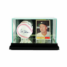 NEW REAL GLASS BASEBALL AND CARD DISPLAY CASE WITH BLACK WOOD AND MIRROR BACK