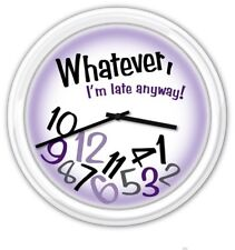 Whatever I'm Late Anyway! Purple Wall Clock - Home or Office - Funny GIFT