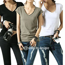 V-Neckline Cap Sleeve Casual Solid Tops for Women