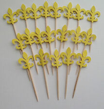 30 Yellow Fleur-de-lis Cupcake toppers Food pick Party Favors