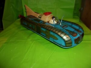 Circa 1960's INTERKOZMOZ (RUSSIAN SPACE PROGRAM) BATTERY OPERATED BLUE SPACE CAR