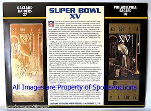 SUPER BOWL 15 OAKLAND RAIDERS vs EAGLES Willabee & Ward 22KT GOLD TICKET ~ SB XV
