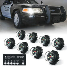 Xprite White 8pcs Hide-A-Way LED Strobe Lights Hazard Marker for Truck SUV Jeep