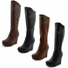 Women's 100% Leather Wedge Knee High Boots Casual Shoes